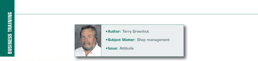 Your Attitude Defines You  It's Your Business  Author: Terry Greenhut Subject matter: Shop management Issue: Attitude