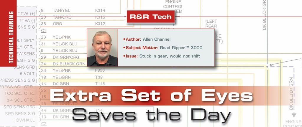 Extra Set of Eyes Saves the Day  R&R Tech  Author: Allen Channel Subject Matter: Road Ripper™ 3000  Issue: Stuck in gear, would not shift
