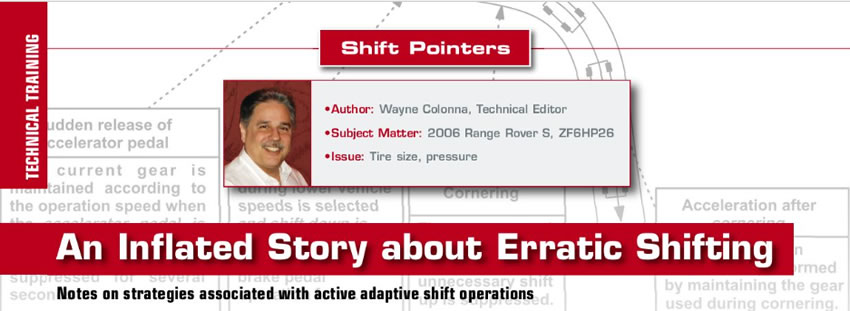 An Inflated Story about Erratic Shifting  Shift Pointers  Author: Wayne Colonna, Technical Editor Subject Matter: 2006 Range Rover S, ZF6HP26 Issue: Tire size, pressure