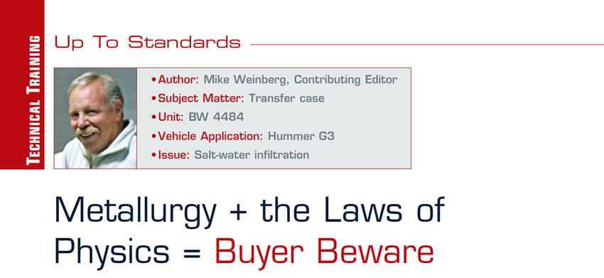 Metallurgy + the Laws of Physics = Buyer Beware  Up to Standards  Author: Mike Weinberg, Contributing Editor Subject Matter: Transfer case Unit: BW 4484 Vehicle Application: Hummer G3 Issue: Salt-water infiltration