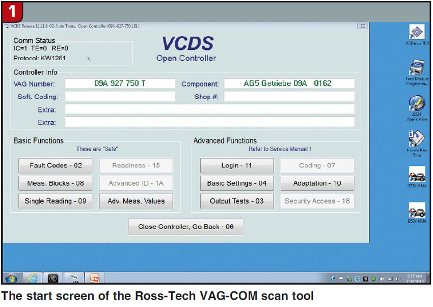 The start screen of the Ross-Tech VAG-COM scan tool