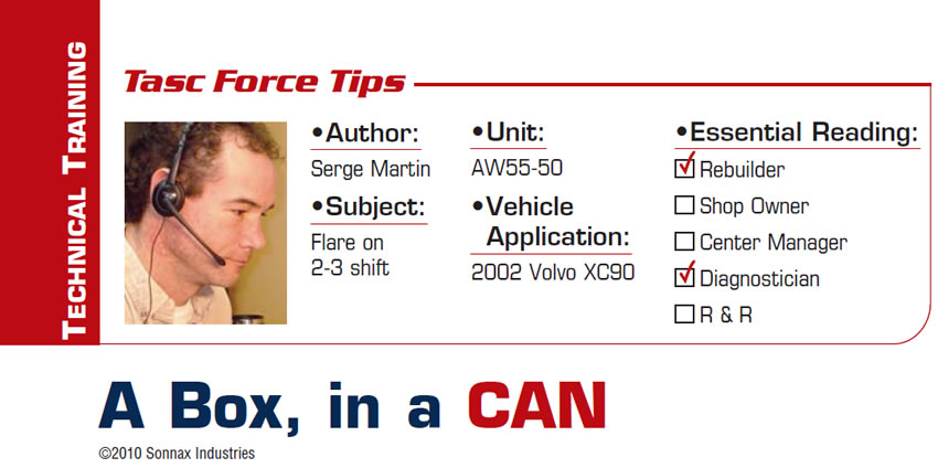 A Box, in a CAN  TASC Force Tips  Subject: Flare on 2-3 shift Unit: AW55-50 Vehicle Application: 2002 Volvo XC90 Essential Reading: Rebuilder, Diagnostician Author: Serge Martin