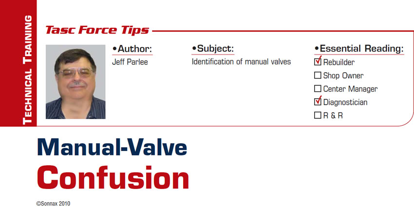 Manual-Valve Confusion  TASC Force Tips  Subject: Identification of manual valves Essential Reading: Rebuilder, Diagnostician Author: Jeff Parlee