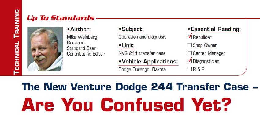 The New Venture Dodge 244 Transfer Case – Are You Confused Yet?  Up to Standards  Subject: Operation and diagnosis Unit: NVG 244 transfer case Vehicle Applications: Dodge Durango, Dakota Essential Reading: Rebuilder, Diagnostician Author: Mike Weinberg, Rockland Standard Gear, Contributing Editor