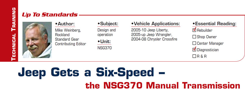 Jeep Gets a Six-Speed – the NSG370 Manual Transmission  Up to Standards  Subject: Design and operation Unit: NSG370 Vehicle Application: 2005-10 Jeep Liberty, 2005-up Jeep Wrangler, 2004-08 Chrysler Crossfire Essential Reading: Rebuilder, Diagnostician Author: Mike Weinberg, Rockland Standard Gear, Contributing Editor