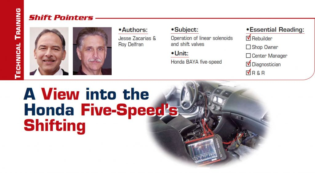 A View into the Honda Five-Speed's Shifting  Shift Pointers  Subject: Operation of linear solenoids and shift valves Unit: Honda BAYA five-speed Essential Reading: Rebuilder, Diagnostician, R & R Authors: Jesse Zacarias & Roy Delfran