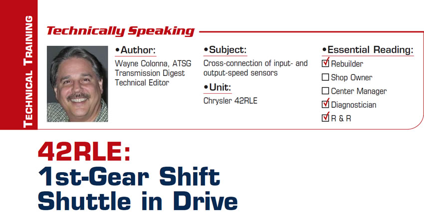 42RLE: 1st-Gear Shift Shuttle in Drive  Technically Speaking  Subject: Cross-connection of input- and output-speed sensors Unit: Chrysler 42RLE Essential Reading: Rebuilder, Diagnostician, R & R  Author: Wayne Colonna, ATSG, Transmission Digest Technical Editor