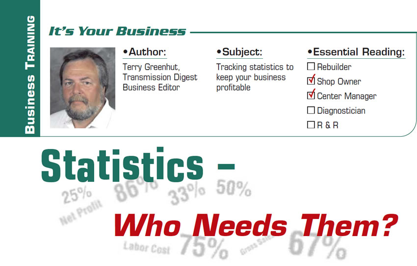 Statistics – Who Needs Them?  It's Your Business  Subject: Tracking statistics to keep your business profitable Essential Reading: Shop Owner, Center Manager Author: Terry Greenhut, Transmission Digest Business Editor