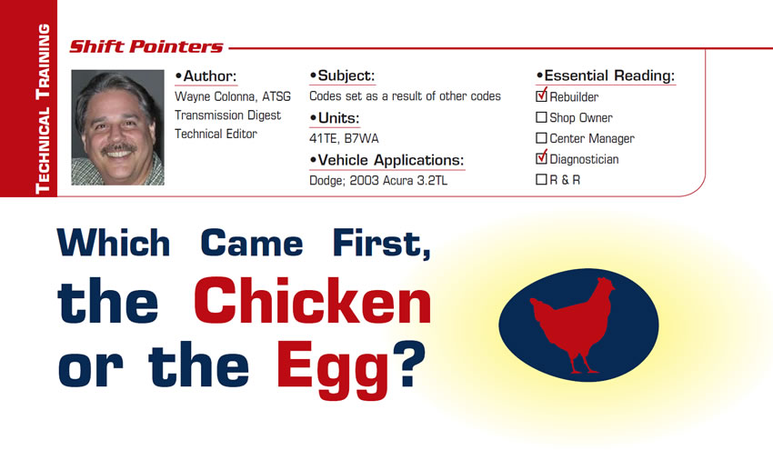 Which Came First, the Chicken or the Egg?  Shift Pointers  Subject: Codes set as a result of other codes Units: 41TE, B7WA Vehicle Applications: Dodge; 2003 Acura 3.2TL Essential Reading: Rebuilder, Diagnostician Author: Wayne Colonna, ATSG, Transmission Digest Technical Editor