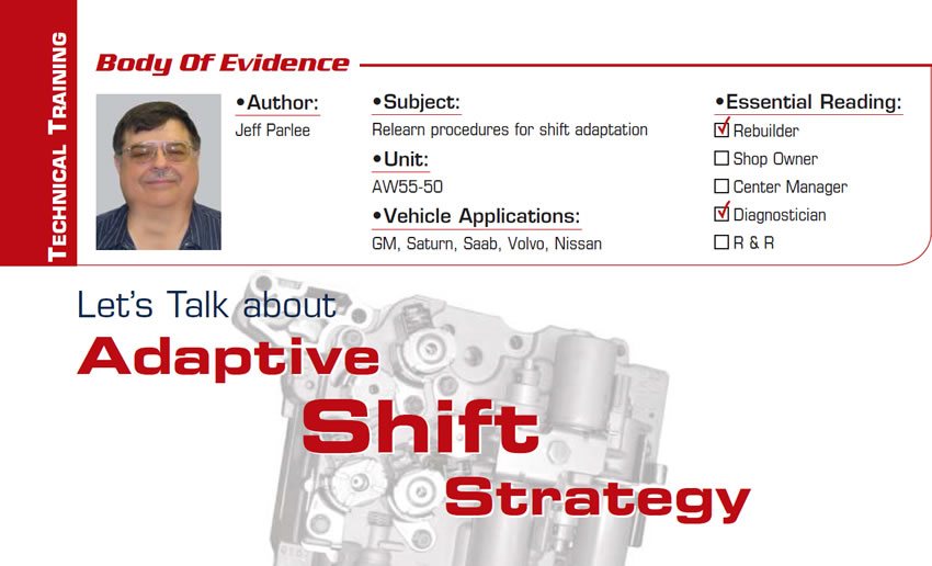 Let's Talk about Adaptive Shift Strategy  Body of Evidence  Subject: Relearn procedures for shift adaptation Unit: AW55-50  Vehicle Applications: GM, Saturn, Saab, Volvo, Nissan Essential Reading: Rebuilder, Diagnostician Author: Jeff Parlee