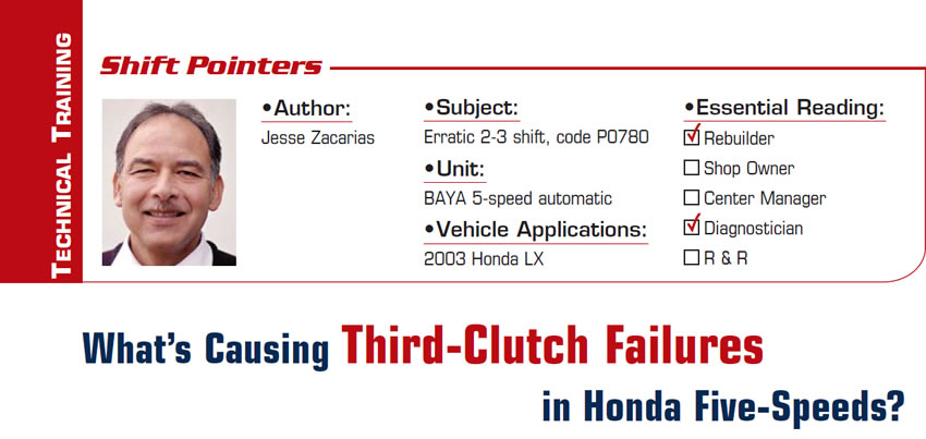What's Causing Third-Clutch Failures in Honda Five-Speeds?  Shift Pointers  Subject: Erratic 2-3 shift, code P0780 Unit: BAYA 5-speed automatic Vehicle Application: 2003 Honda LX Essential Reading: Rebuilder, Diagnostician Author: Jesse Zacarias & Roy Delfran