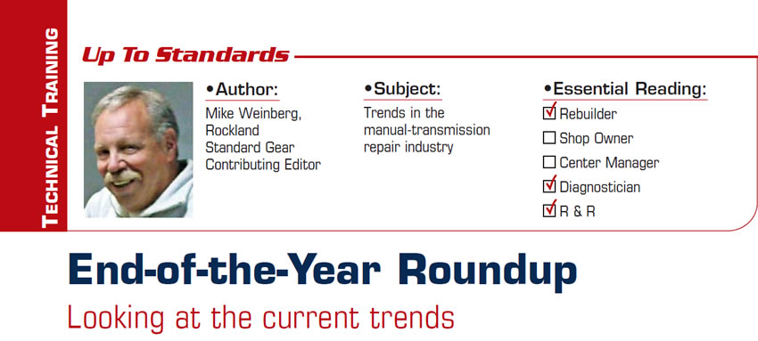 End-of-the-Year Roundup  Up to Standards  Subject: Trends in the manual-transmission repair industry Essential Reading: Rebuilder, Diagnostician, R & R Author: Mike Weinberg, Rockland Standard Gear, Contributing Editor  Looking at the current trends
